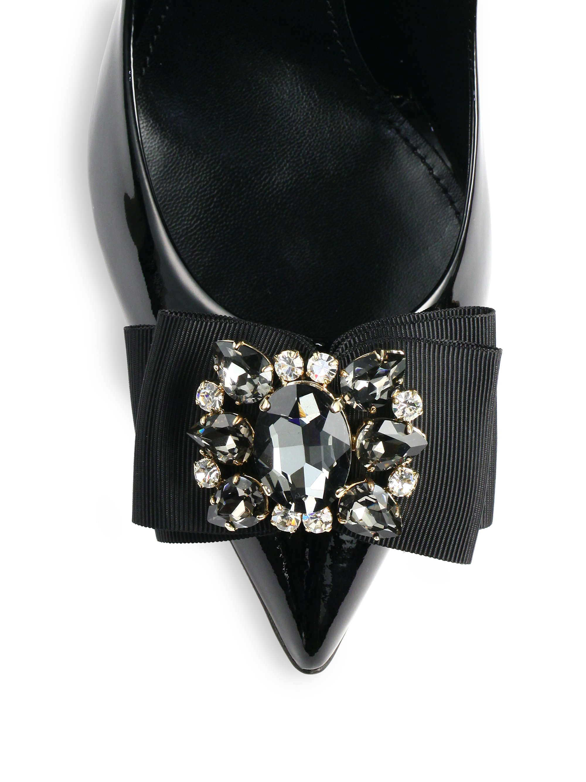 Black patent leather gloves - Dolce Amp Gabbana Jeweled Bow Patent Leather Pumps In Black Lyst