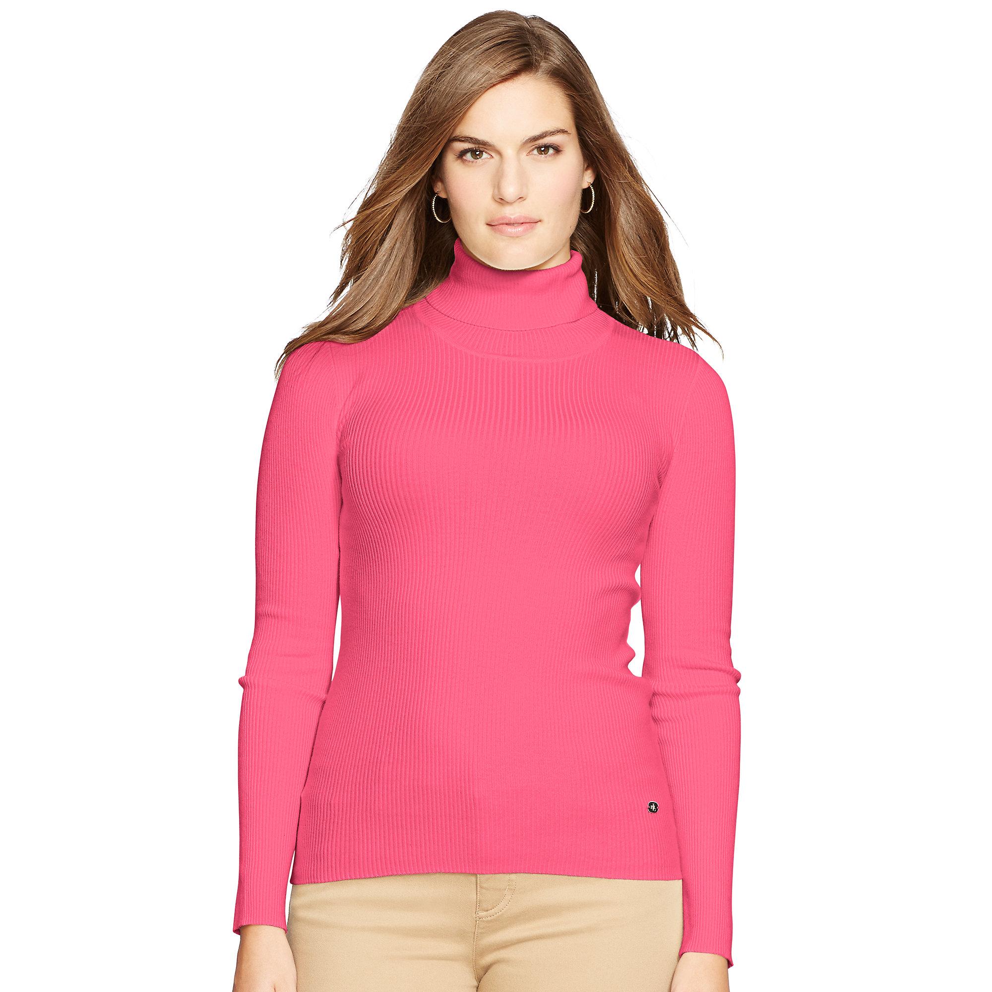 Ralph lauren Ribbed Turtleneck Sweater in Pink | Lyst