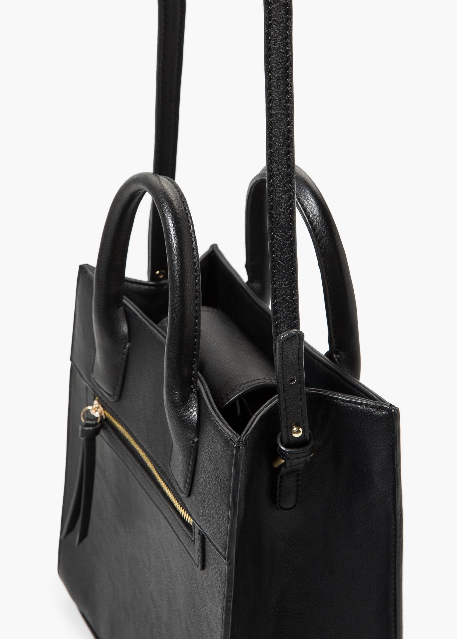 Lyst - Mango Zip Tote Bag in Black 8aab87ca6