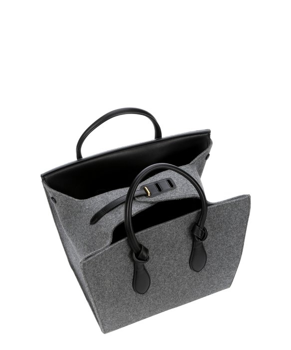 celine grey leather handbag tie