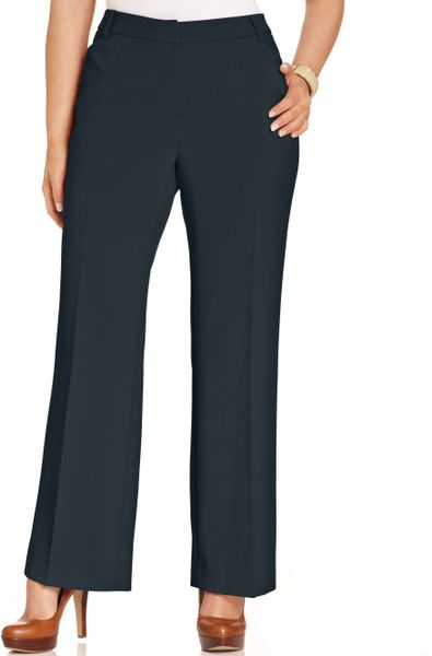 Jones new york collection plus size modern fit wide leg pants in blue