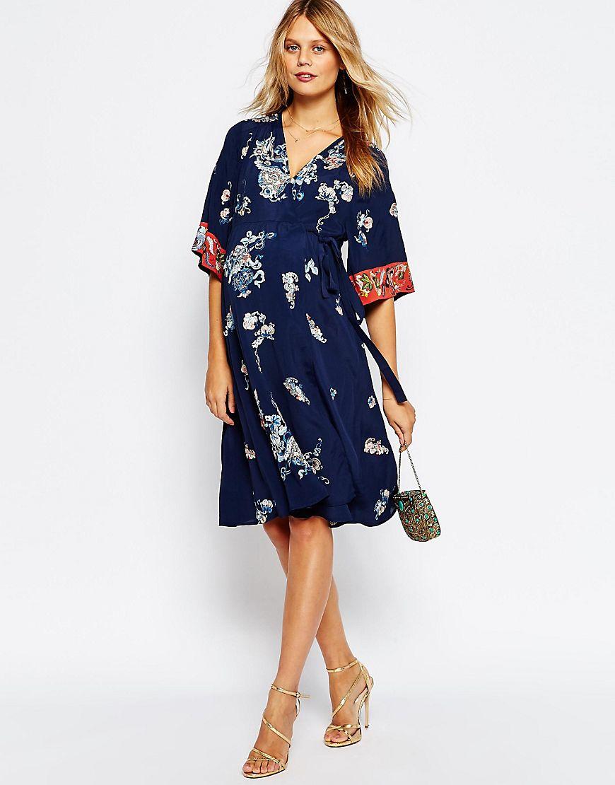 dedfc2b13765e Asos Maternity Floral Wrap Dress