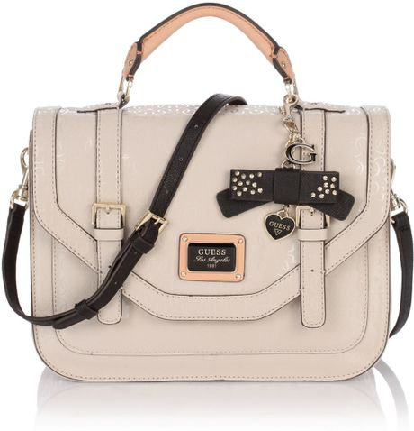 Guess Specks Medium Top Handle Flap in Beige (stone) | Lyst