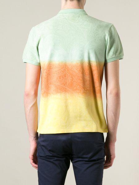 Etro dip dye polo shirt in multicolor for men multicolour for Mens dip dye shirt