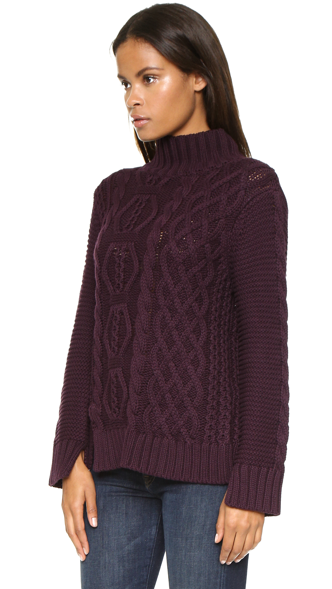 525 america Hand Knit Mock Turtleneck Sweater - Lilac Ice in ...