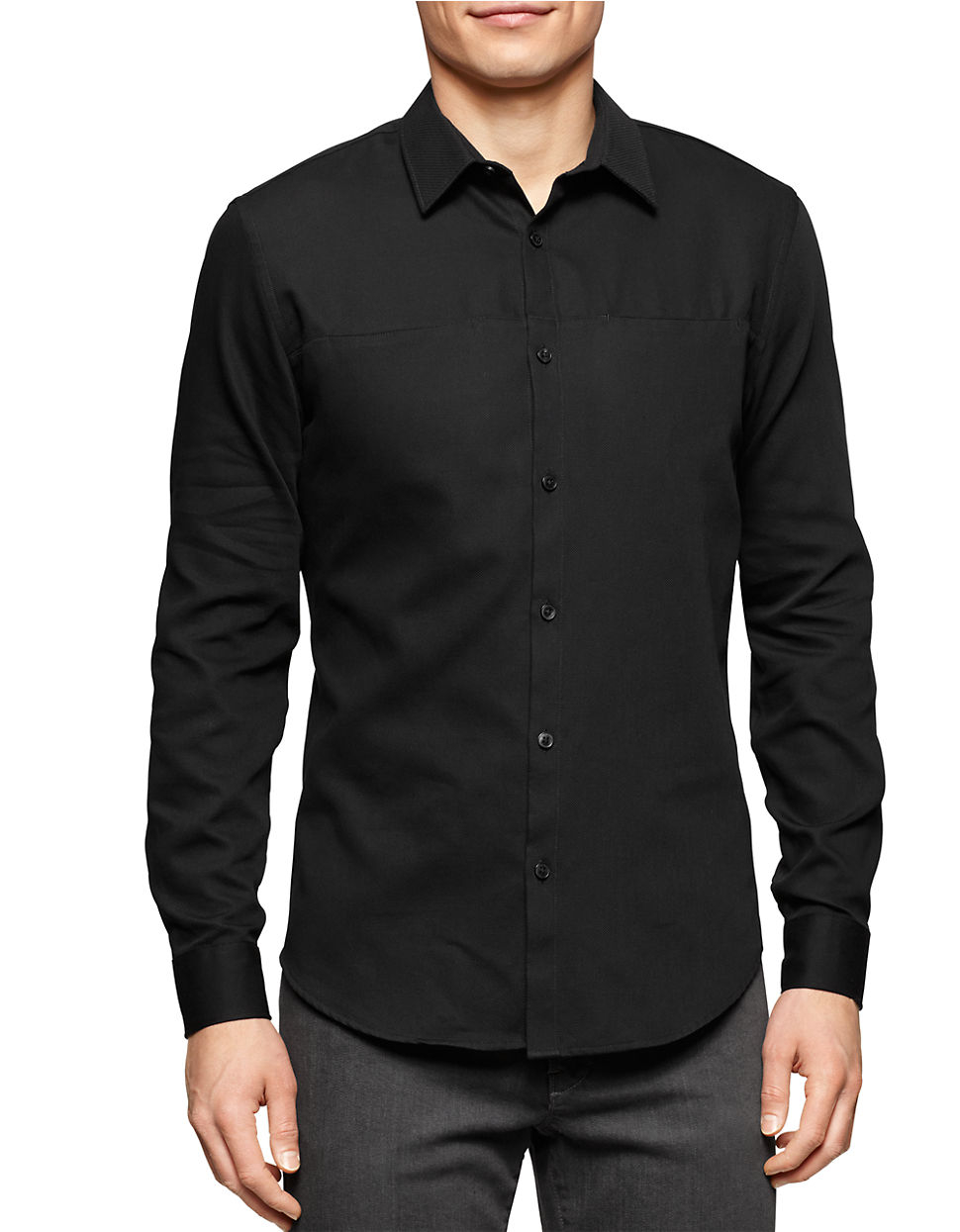 Calvin klein Long-Sleeve Button-Down Shirt in Black for Men | Lyst