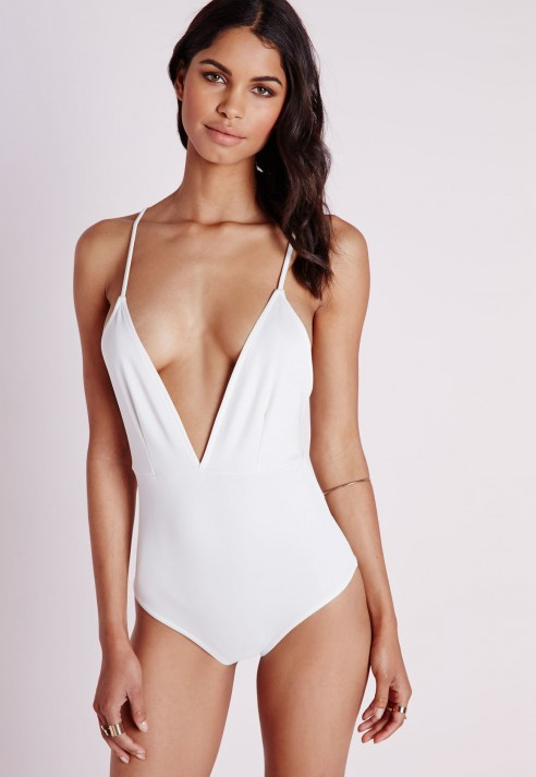 1119f9608 Missguided Cross Back Plunge Bodysuit White in White - Lyst