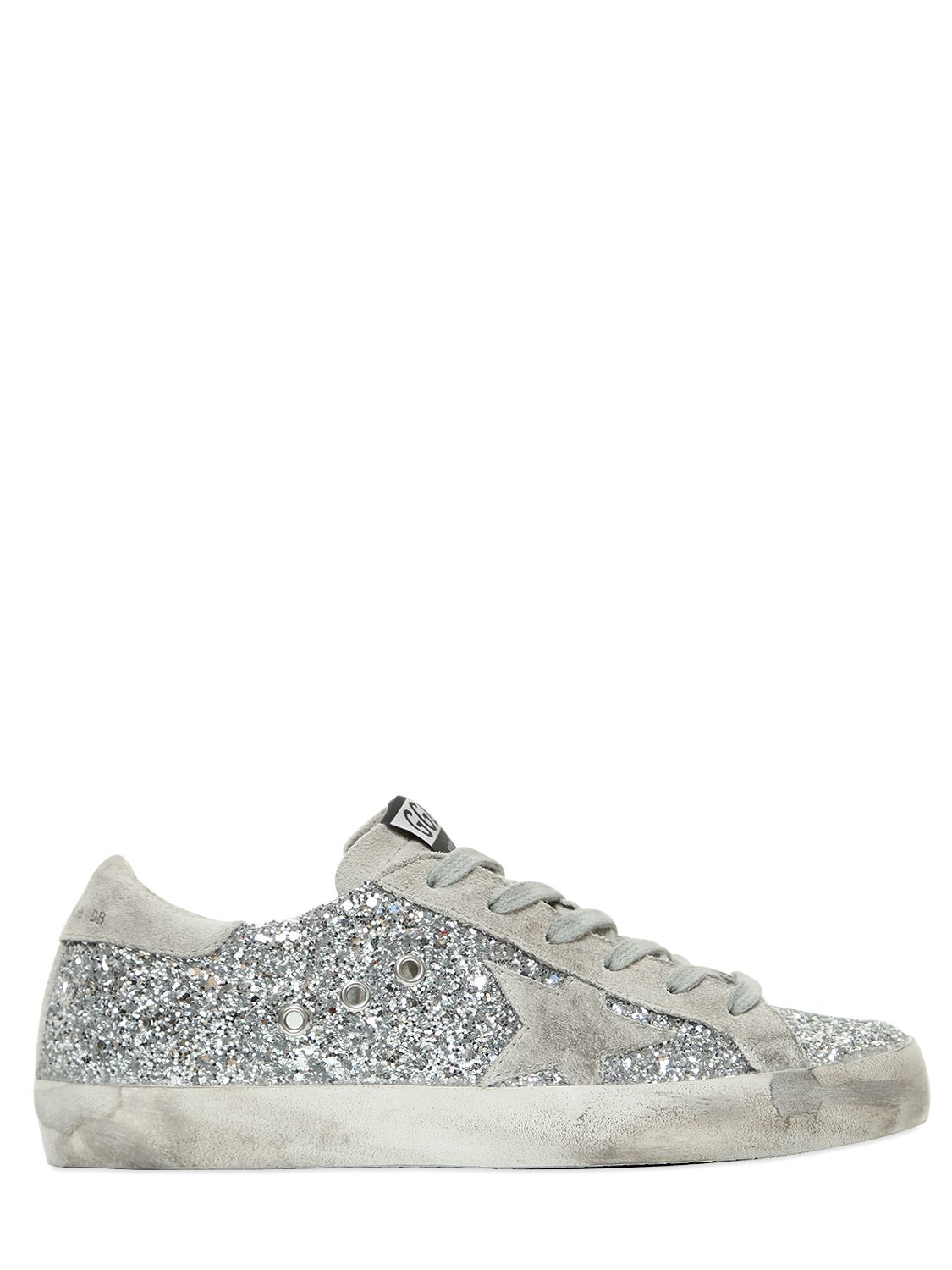 Superstar Distressed Glittered Leather And Suede Sneakers - Silver Golden Goose