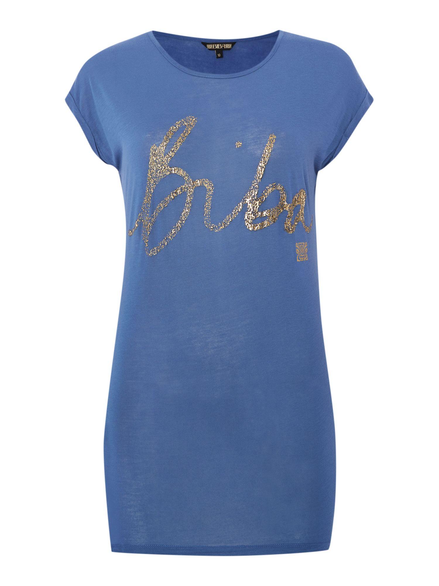 Biba foil print t shirt in blue lyst for Foil print t shirts custom