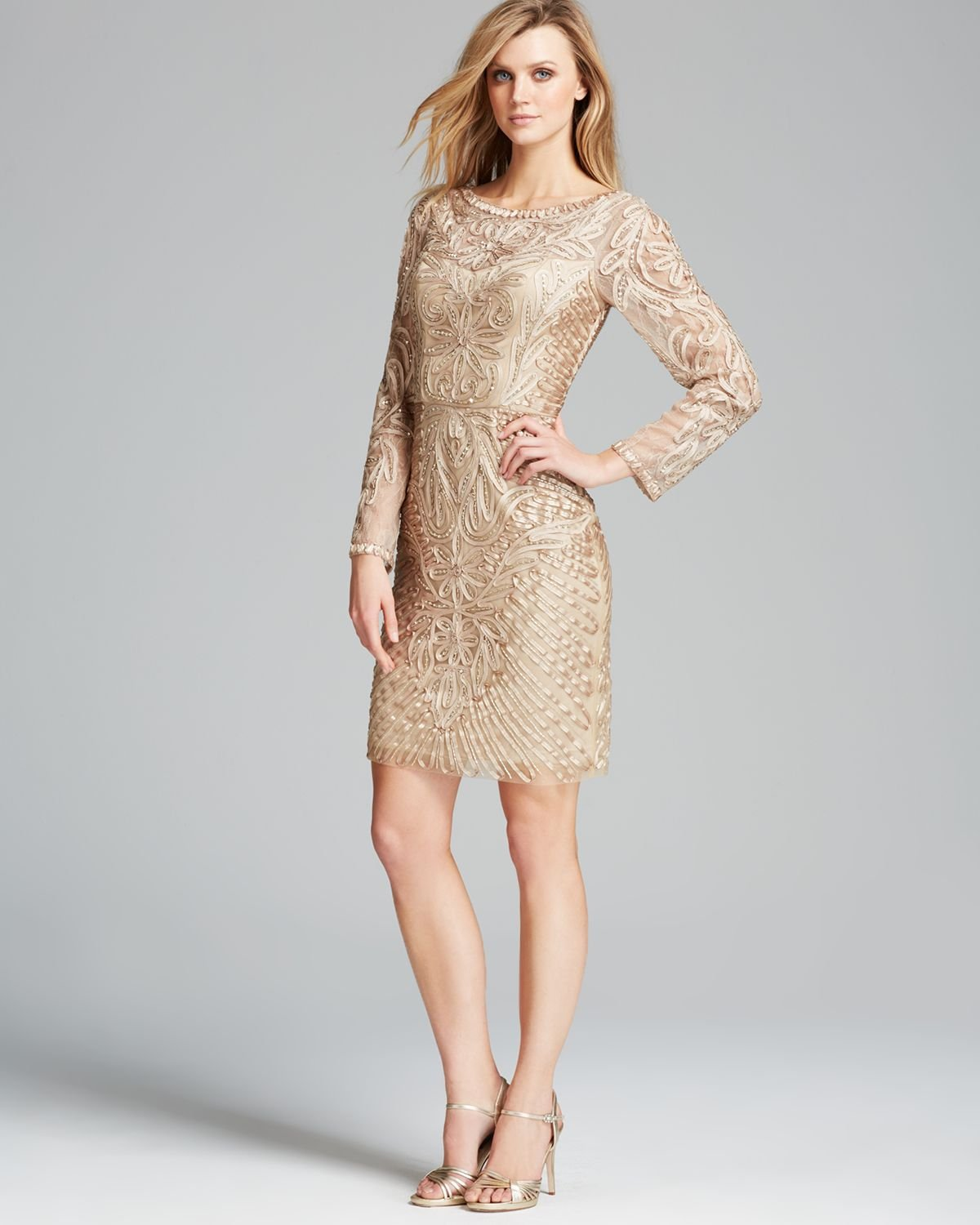 Sue Wong Dress Soutache Beaded In Natural