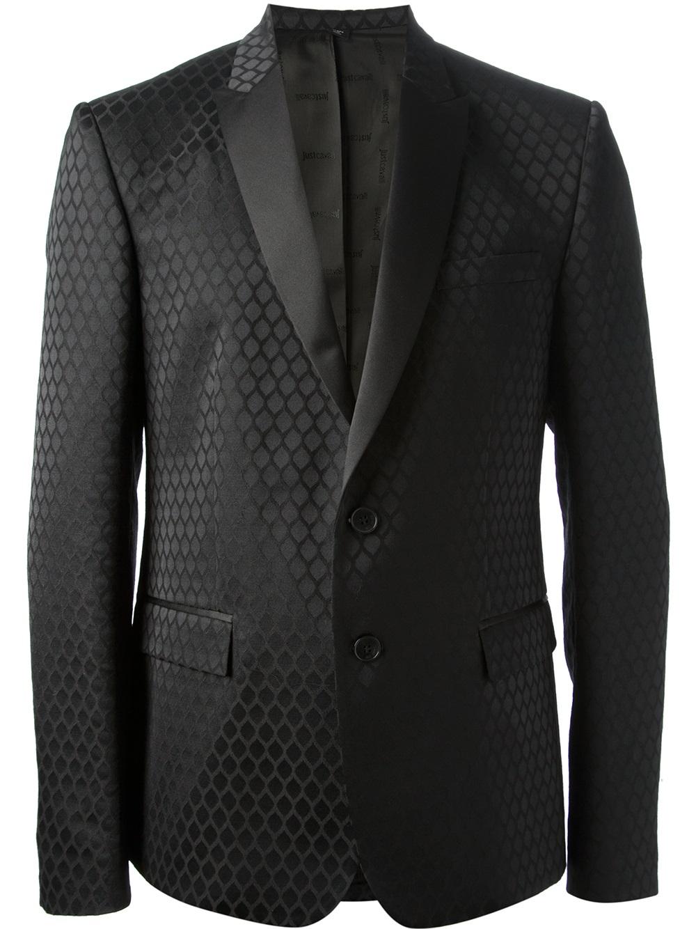 Lyst - Just Cavalli Devore Diamond Pattern Suit in Black ...