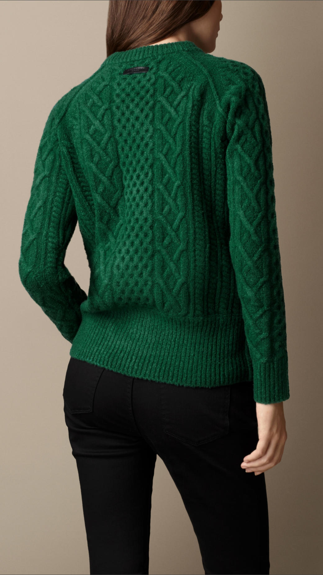 Burberry Wool Blend Cable Knit Sweater in Green | Lyst