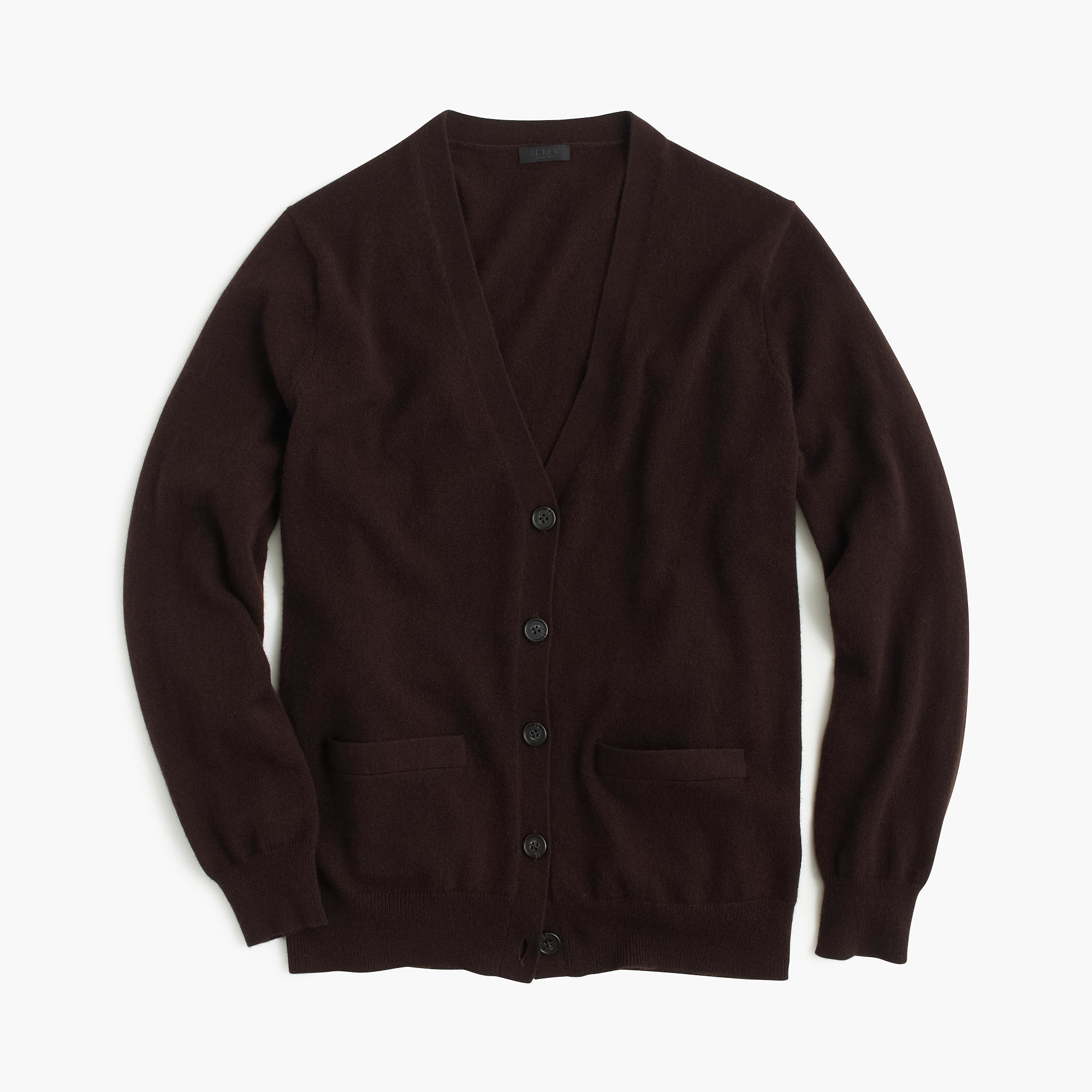 J.crew Italian Cashmere Boyfriend Cardigan Sweater in Brown | Lyst