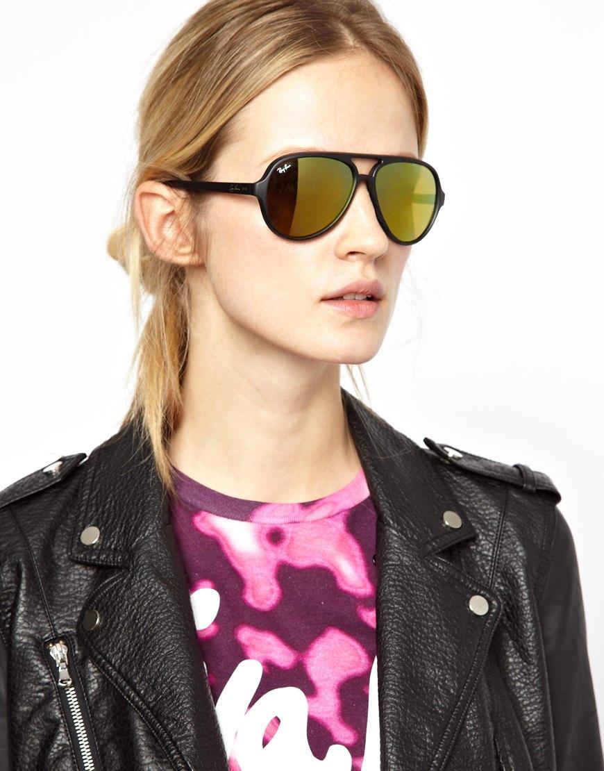 bb6ba3e58 ... denmark lyst ray ban cats 5000 gold mirrored sunglasses in black 1ea20  d4cee