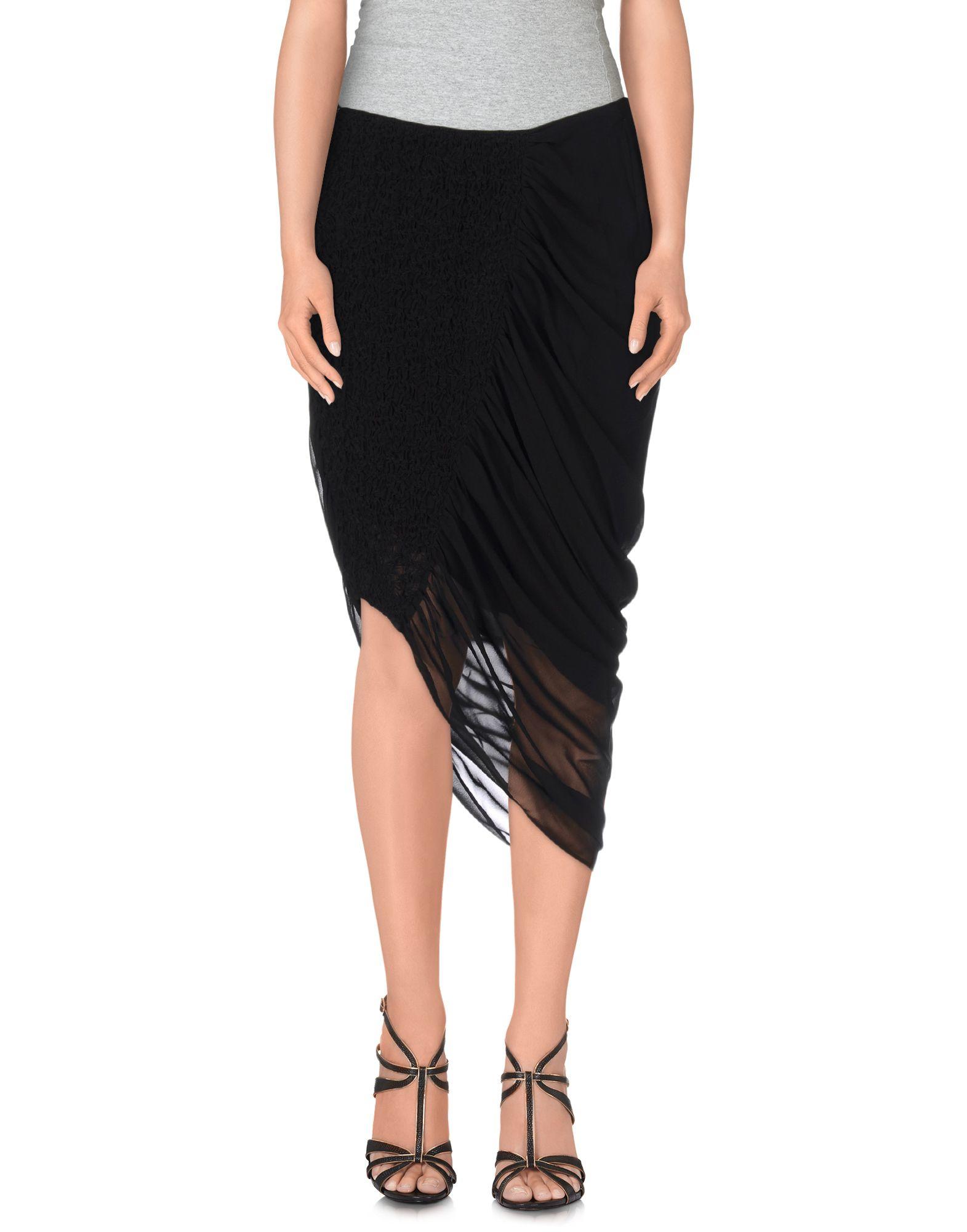 mcq knee length skirt in black lyst
