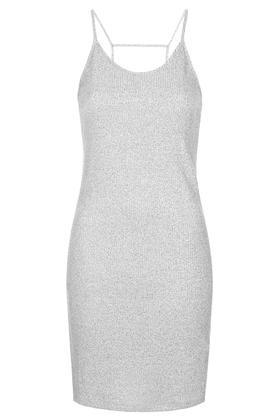 48e542e817c TOPSHOP Strappy Vest Bodycon Dress in Gray - Lyst