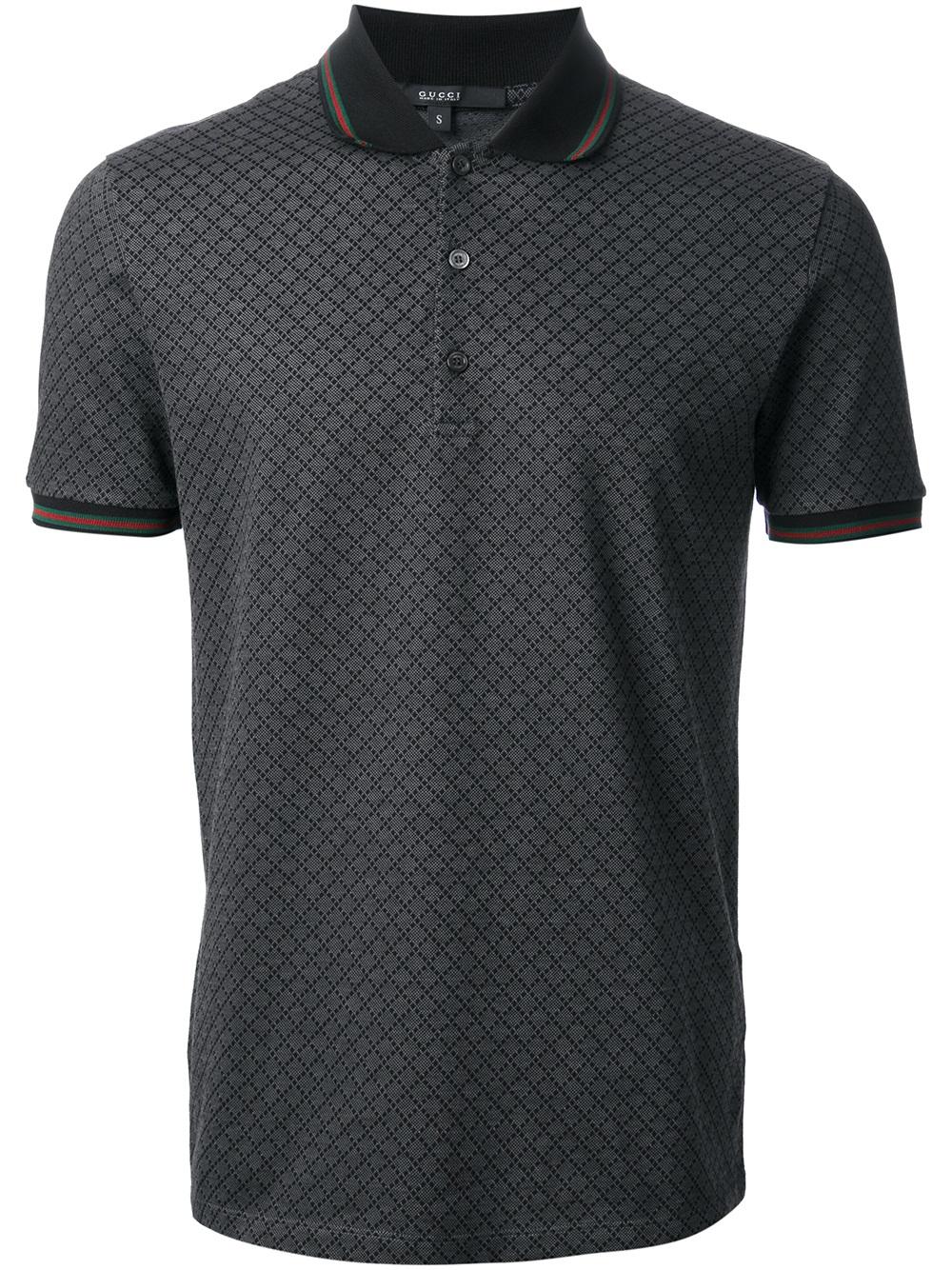 Lyst - Gucci Diamond Pattern Polo Shirt in Gray for Men 6f108e9ea612