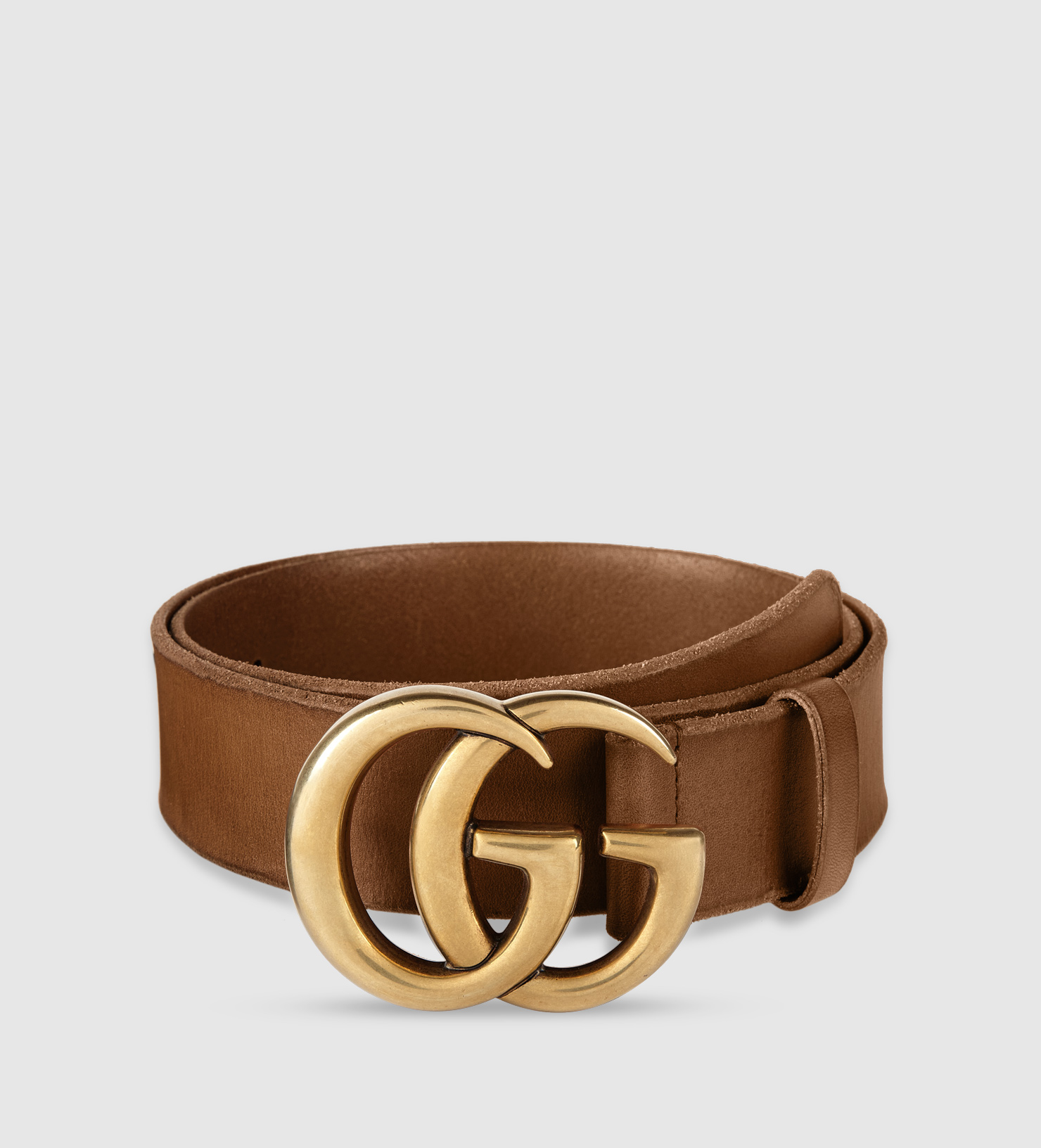 lyst gucci leather belt with double g buckle in metallic