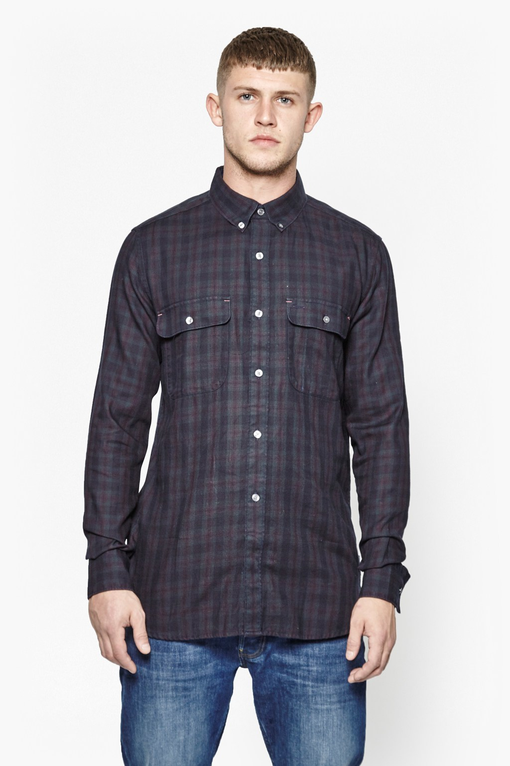 Lyst French Connection Route 66 Overdyed Tartan Shirt In Blue For Men Short Circuit Printed Tshirt Purple Gallery