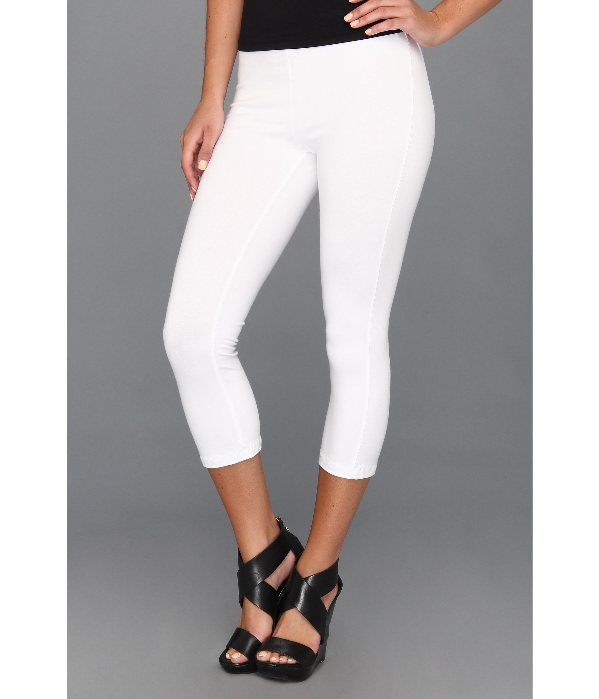 White Cotton Capri Leggings - The Else