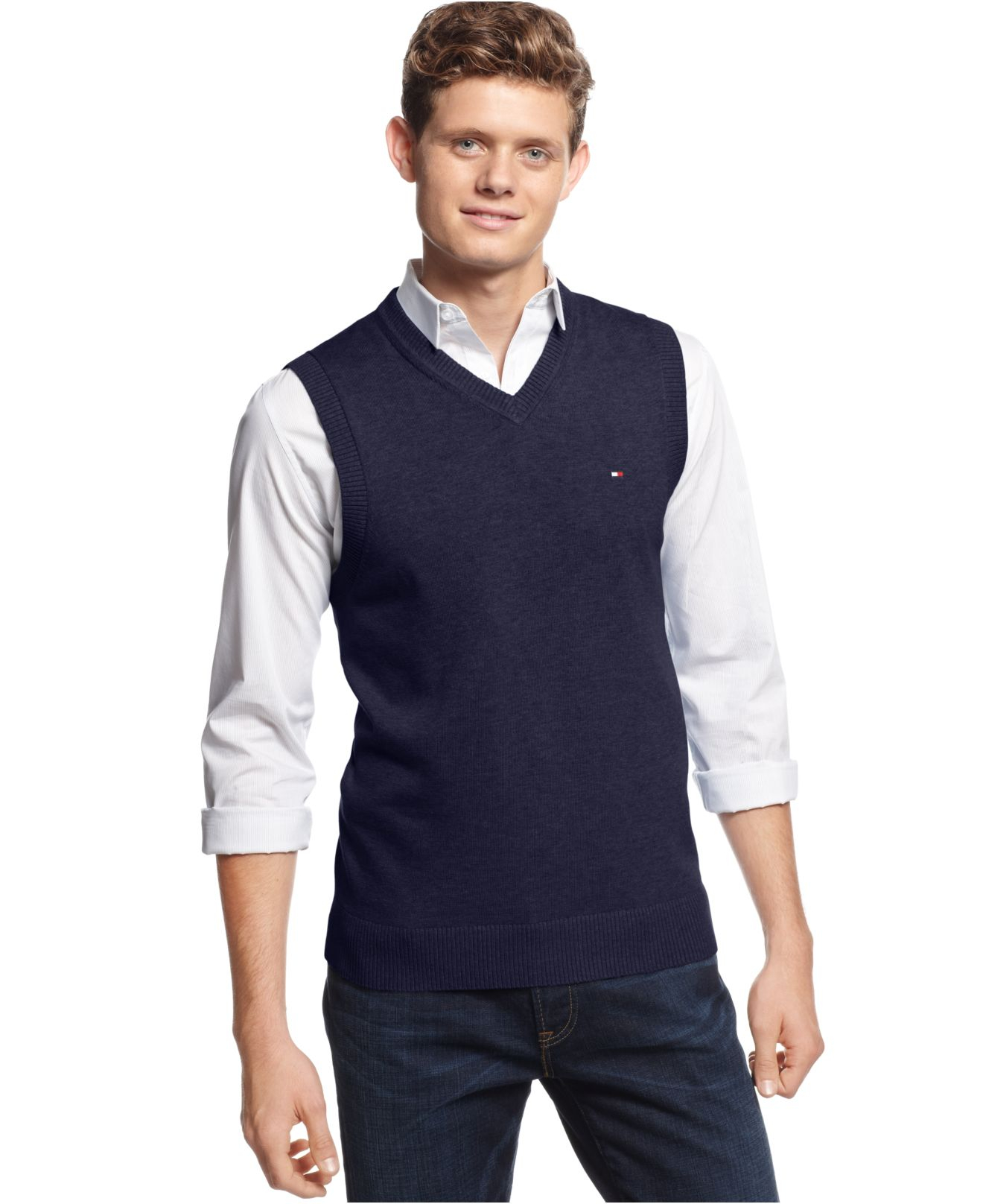 Tommy hilfiger Signature V-Neck Sweater Vest in Blue for Men | Lyst
