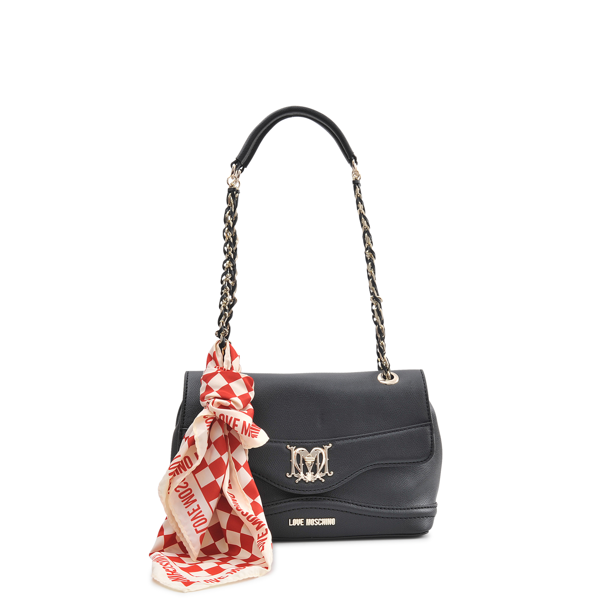40b402e368851 Love Moschino I Love Scarf Flap Bag in Black - Lyst