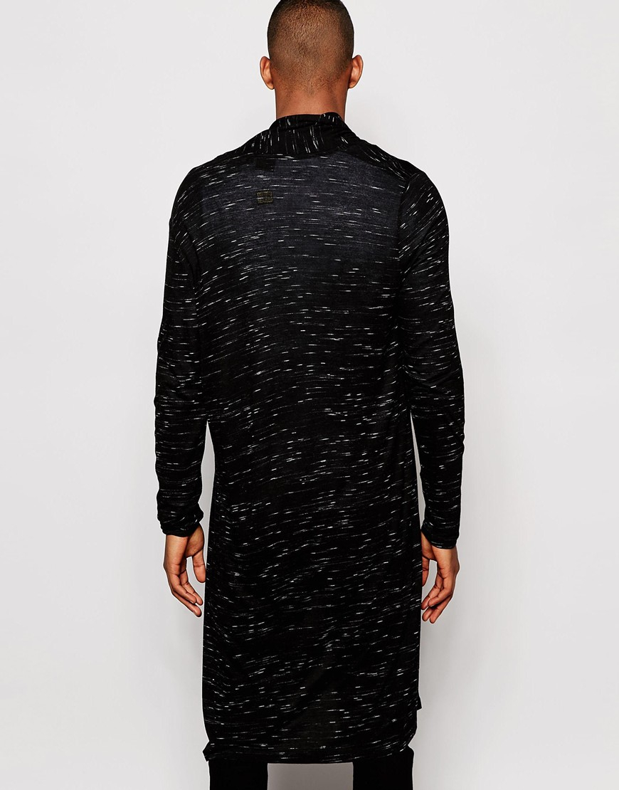 Asos Extreme Longline Cardigan In Slub Fabric in Black for Men | Lyst