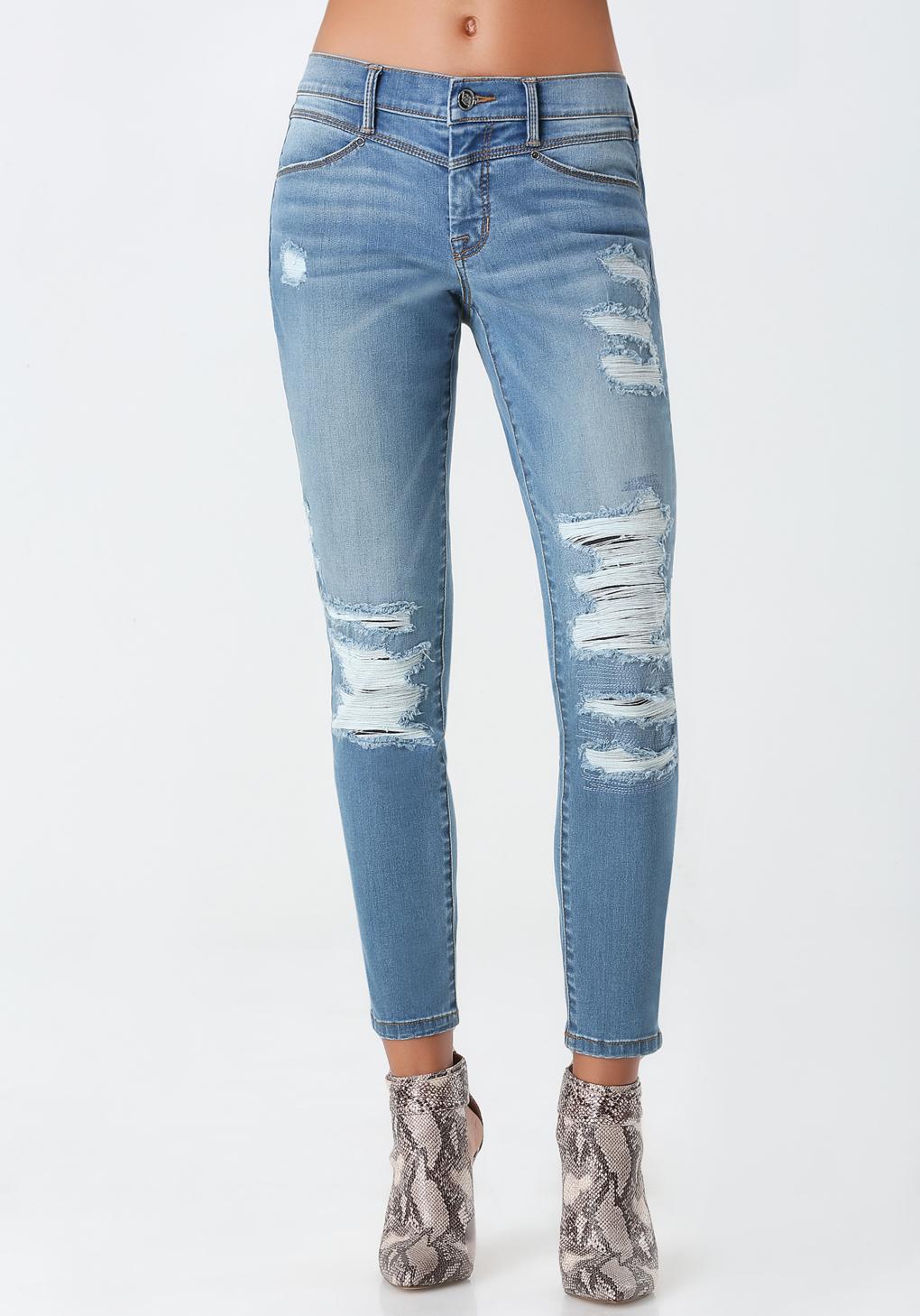 lyst bebe destroyed boyfriend jeans in blue. Black Bedroom Furniture Sets. Home Design Ideas