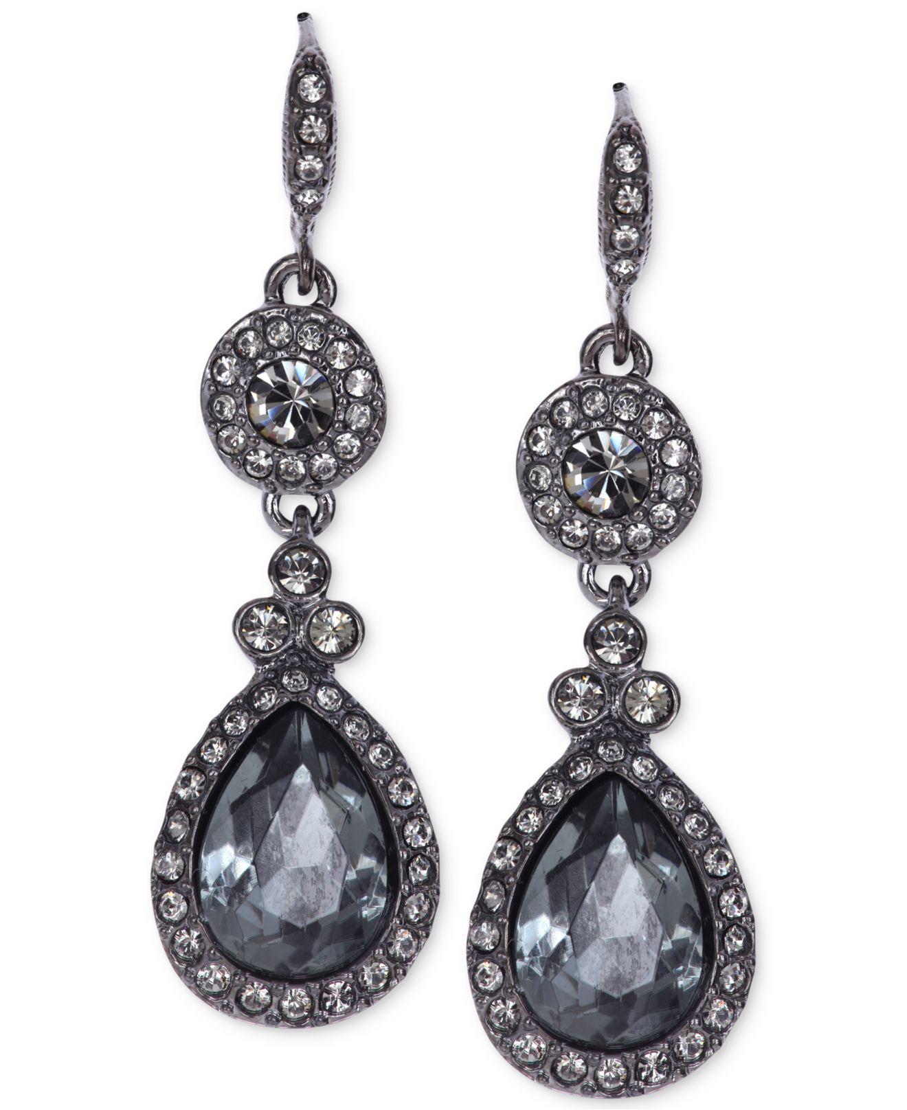 Givenchy Light Hematite Tone Black Crystal Teardrop Earrings In