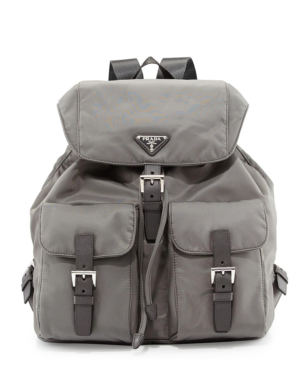 7116eddee0bf75 Prada Vela Medium Backpack in Gray for Men - Lyst