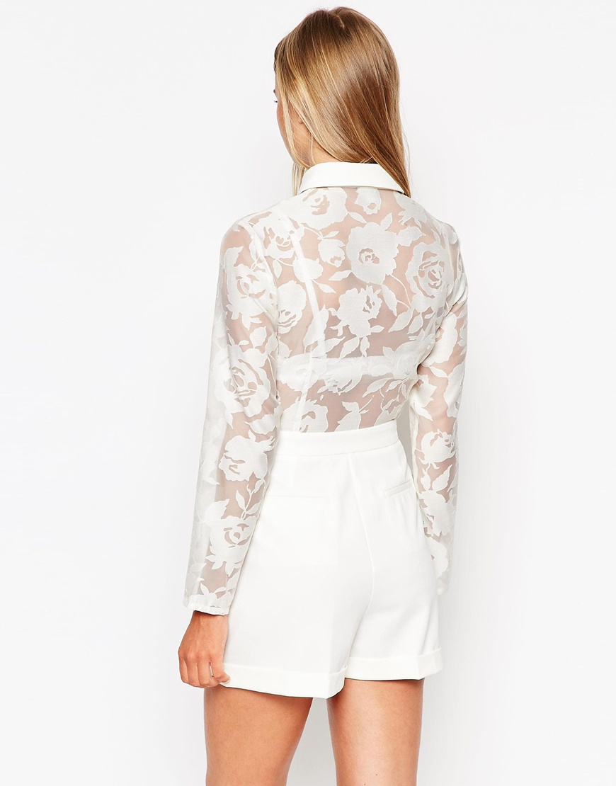 Lyst asos playsuit with sheer flower blouse in white gallery mightylinksfo