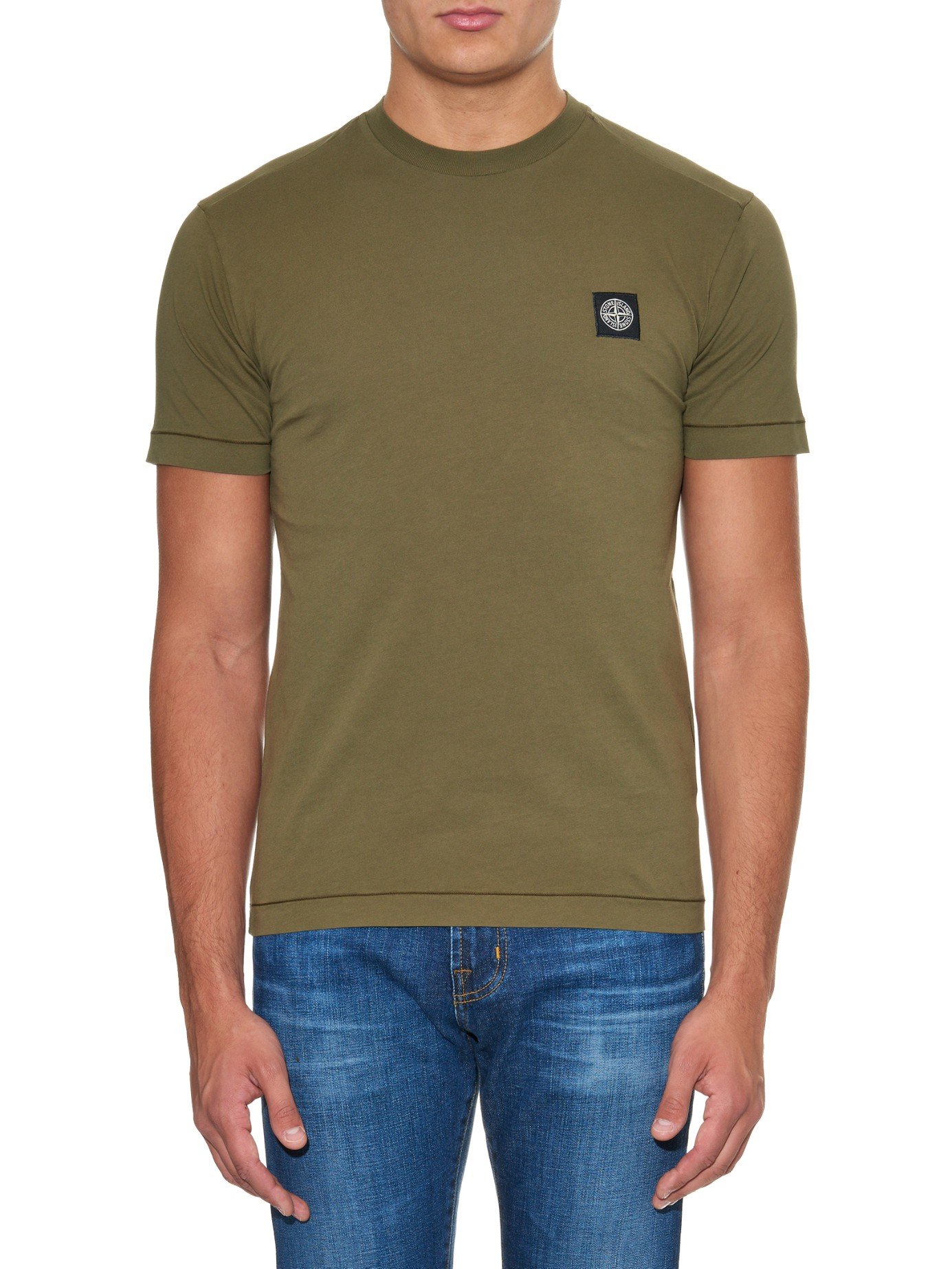 Stone Island Logo Patch Jersey T Shirt In Brown For Men Lyst