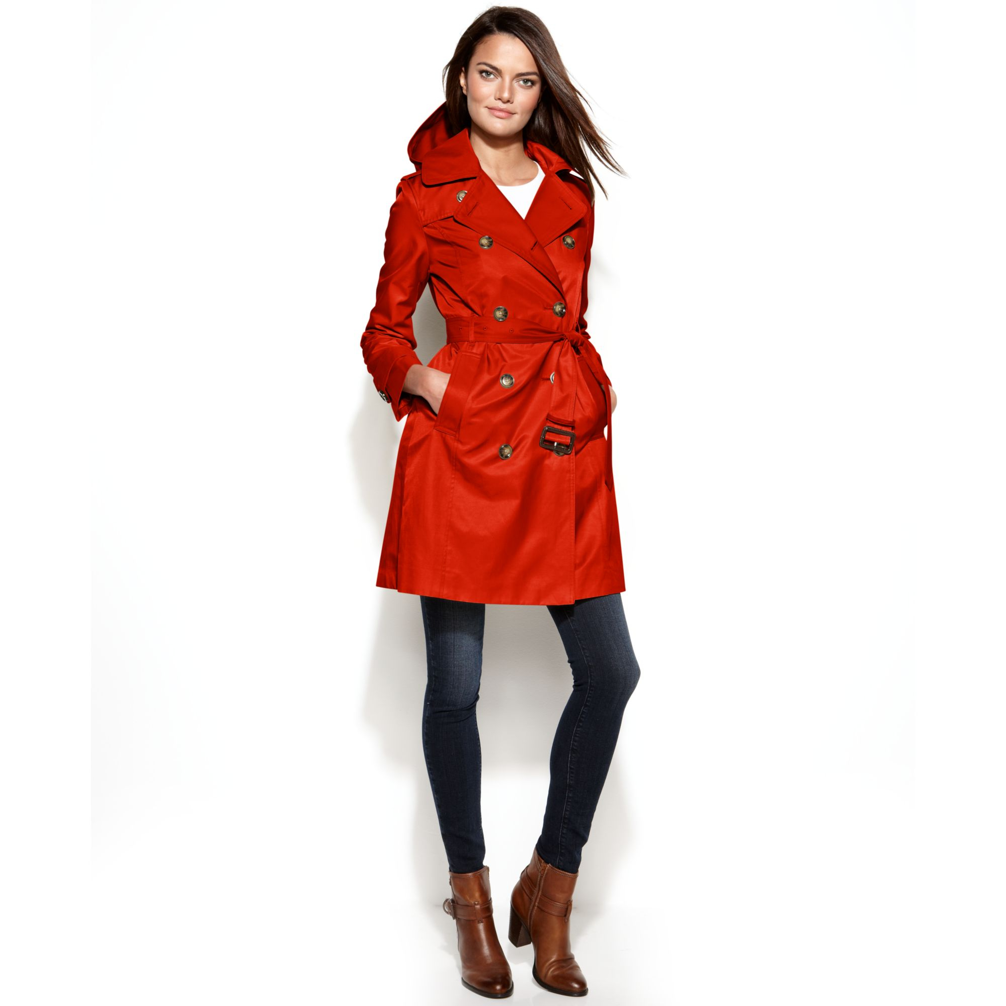 84e841d56e63 Lyst - London Fog All Weather Hooded Trench Coat in Red