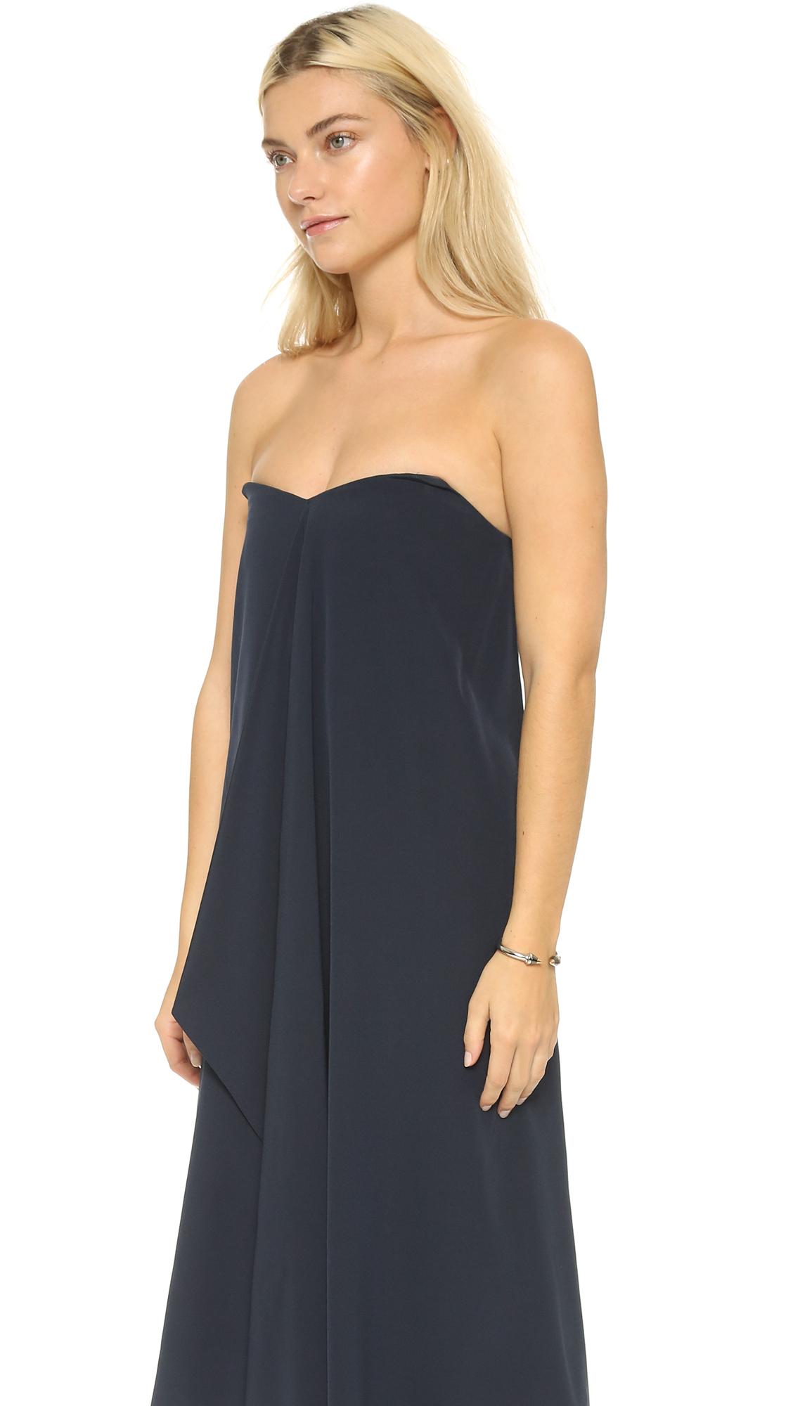 61be400b77a1 Tibi Strapless Silk Towel Dress in Blue - Lyst