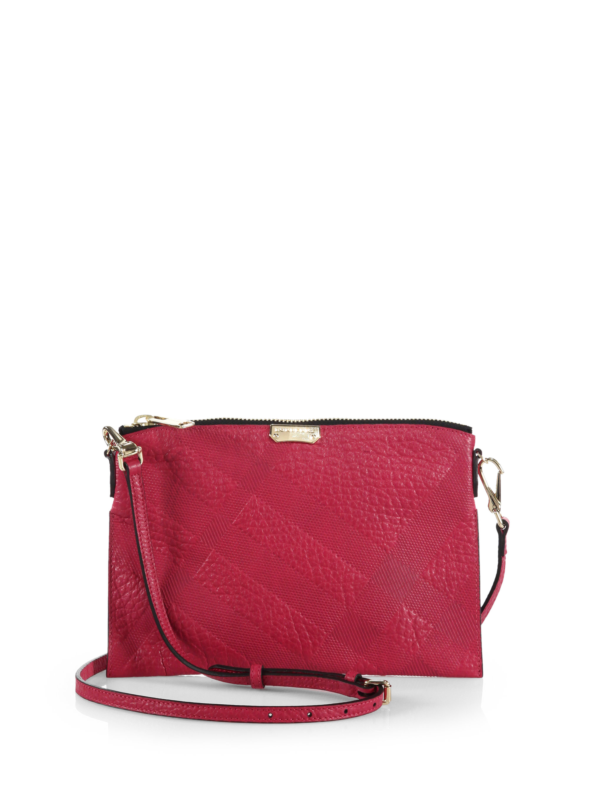 Lyst - Burberry Peyton Plaid-Embossed Crossbody Bag in Pink db7e808a17fb7