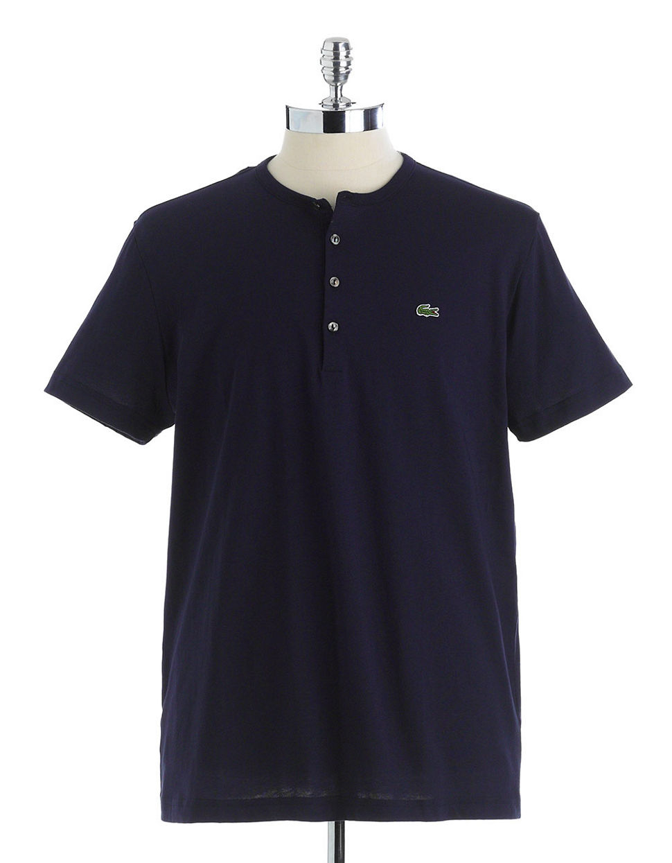 Lacoste Pima Cotton Henley T Shirt In Blue For Men Navy