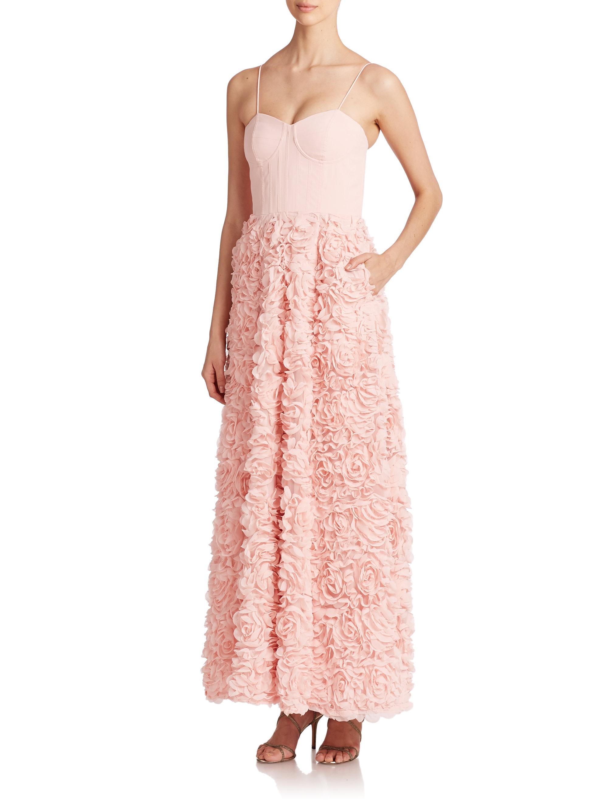 Lyst - Aidan Mattox Corset Rosette Ball Gown in Pink