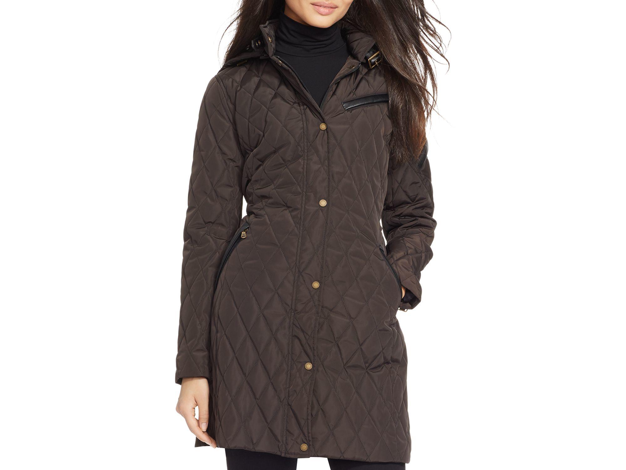 Ralph Lauren Lauren Quilted Hooded Jacket In Black Lyst