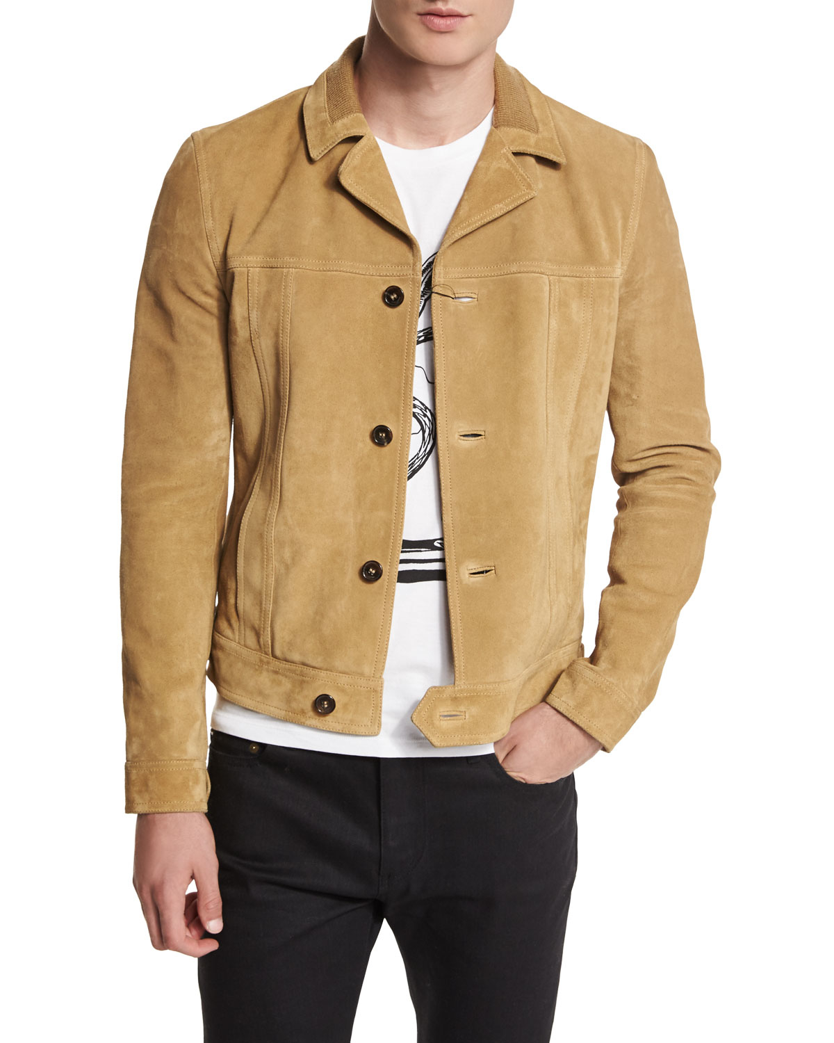 Suede Jacket Outfits For Men 20 Ways To Wear A Suede Jacket: Saint Laurent Button-down Suede Jacket In Natural