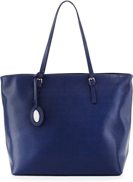 Furla Dlight Leather Medium Tote Bag Navy in Blue (null) - Lyst