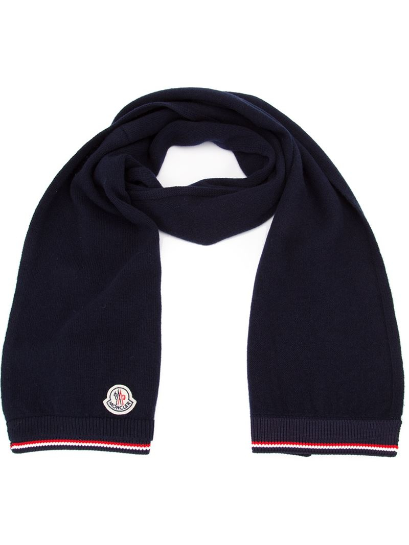 Lyst Moncler Striped Trim Knit Scarf In Blue For Men