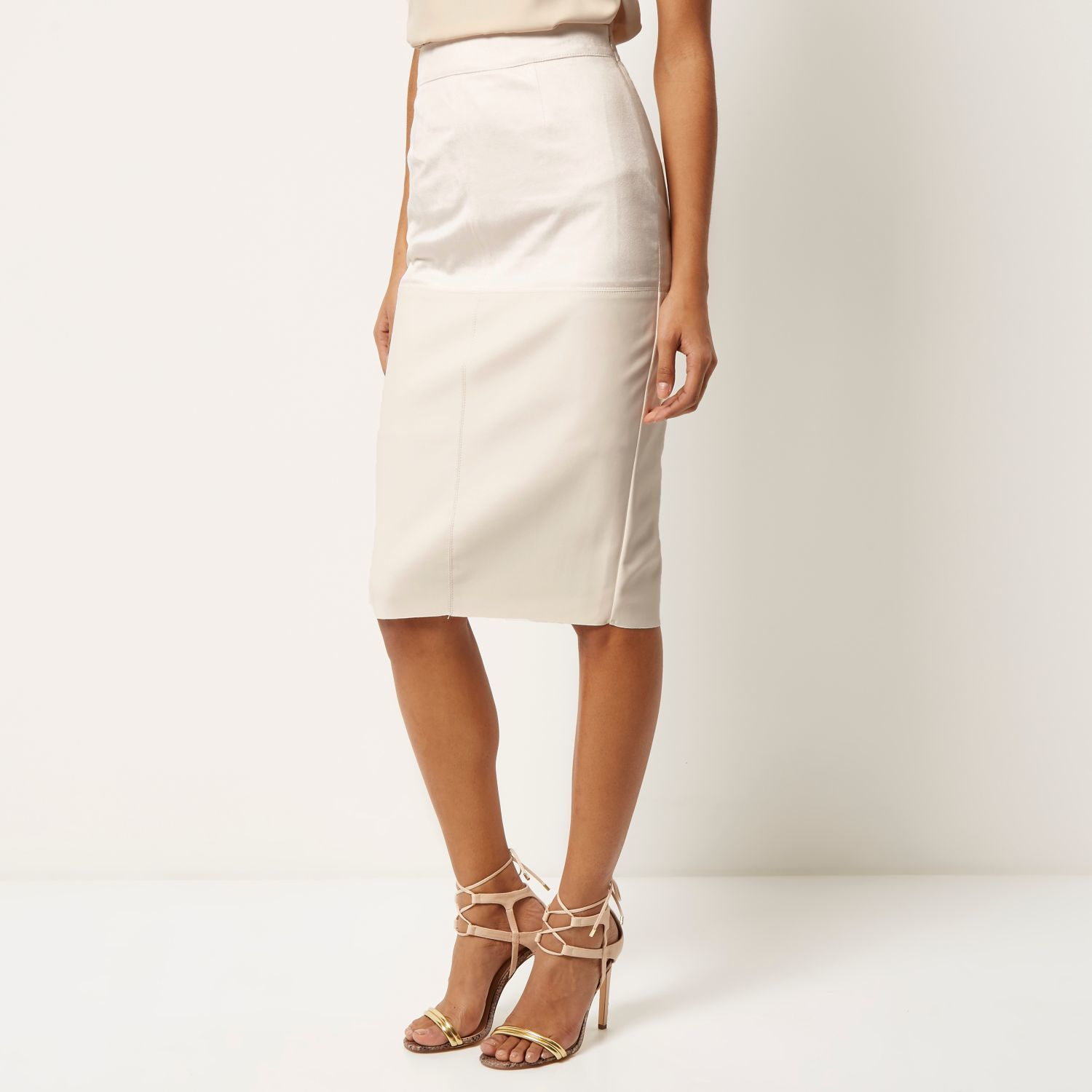 River island Cream Faux Suede Pencil Skirt in Natural | Lyst