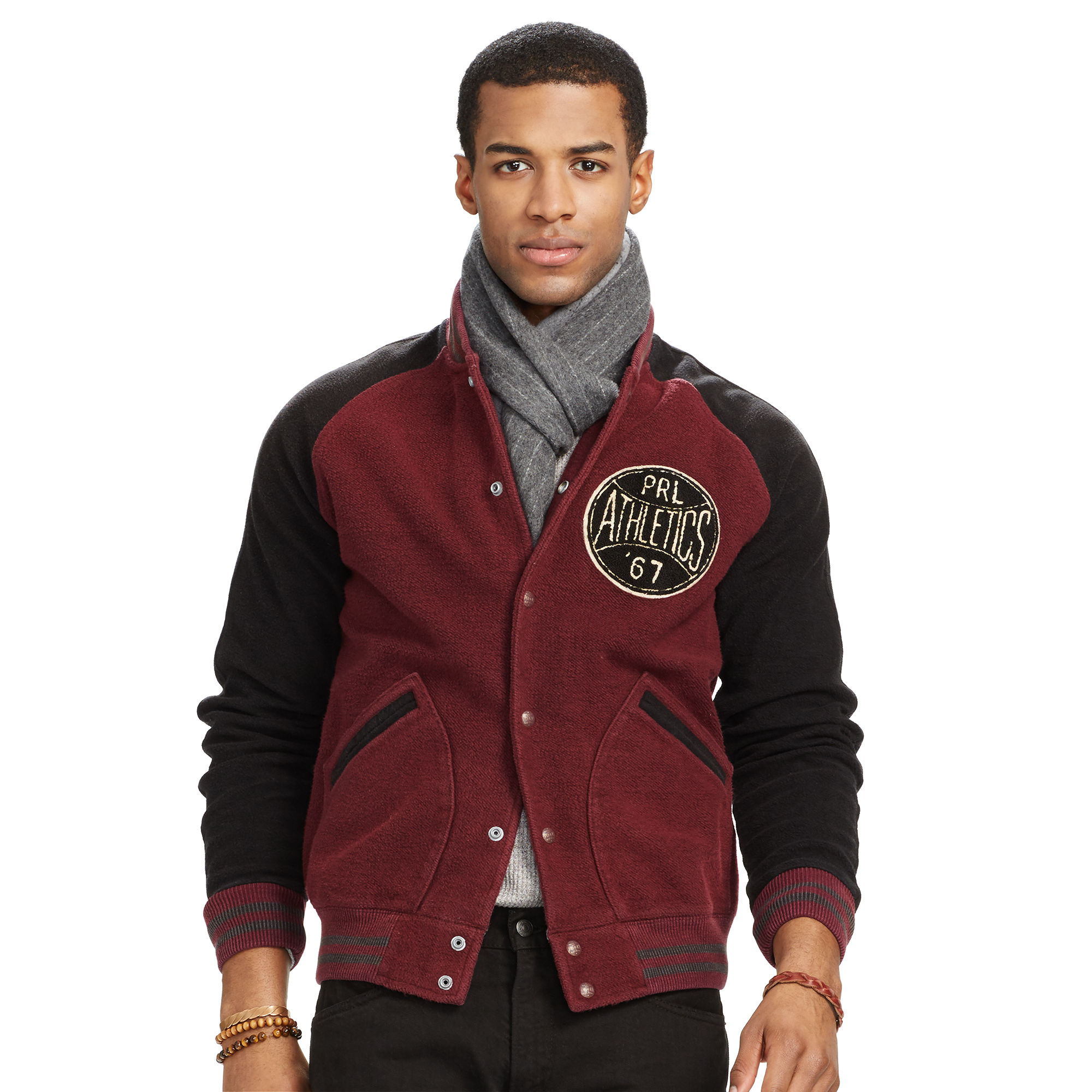 Polo ralph lauren Fleece Baseball Jacket in Purple for Men | Lyst