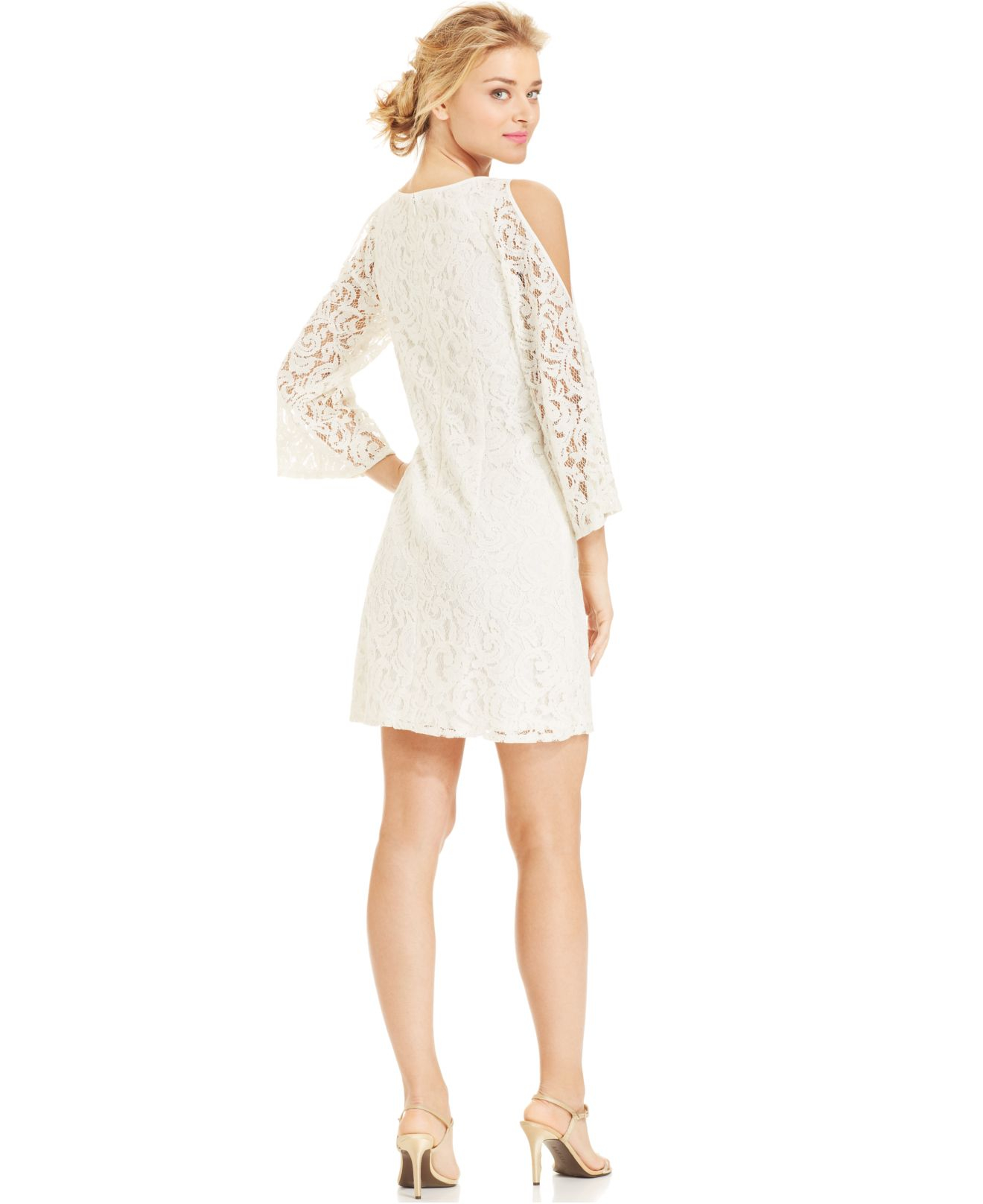 2f6c73f705cc1 Lyst - Adrianna Papell Bell-Sleeve Cold-Shoulder Lace Dress in White