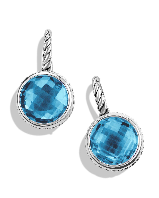 David Yurman Color Classics Drop Earrings With Blue Topaz In