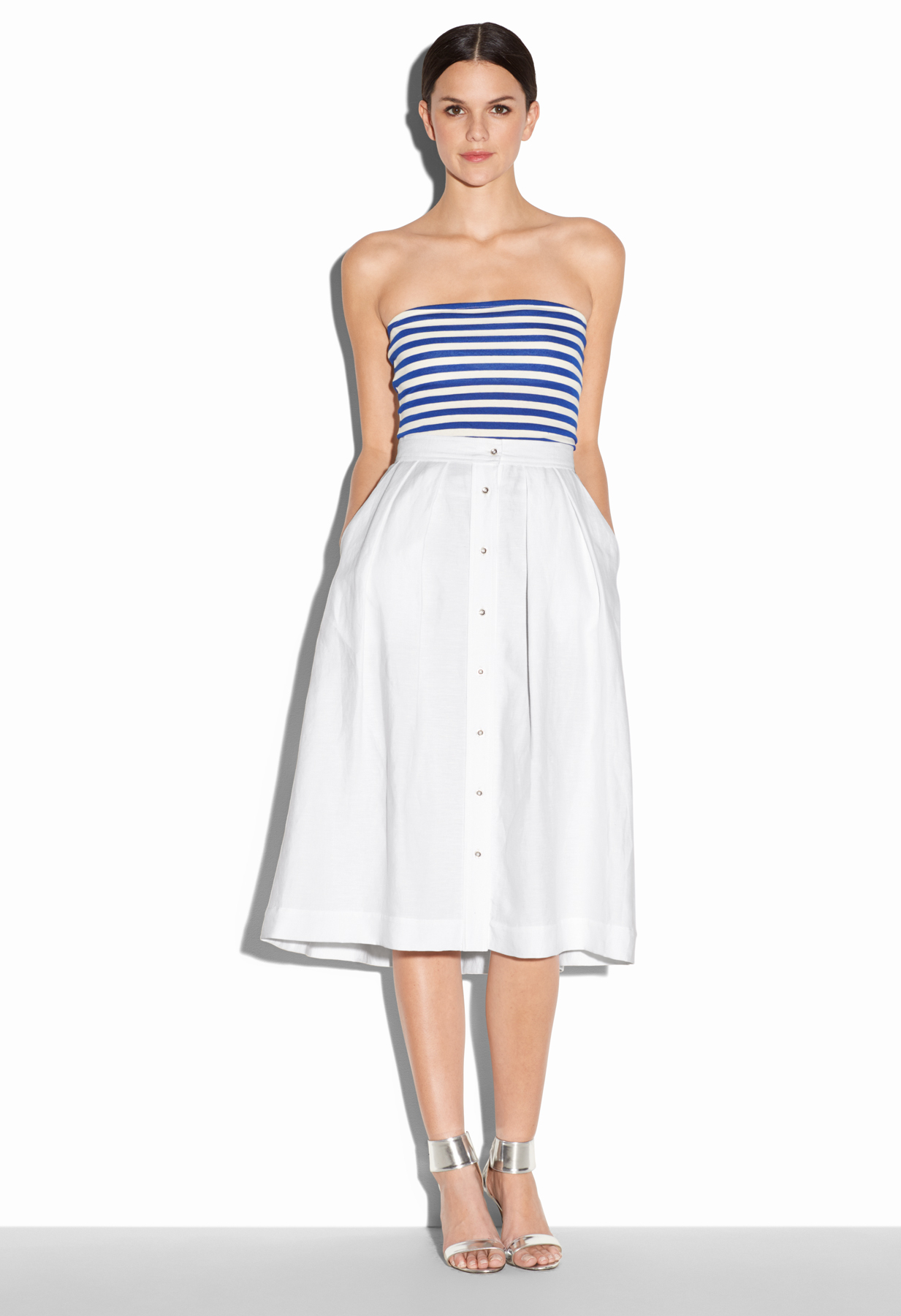 milly button midi skirt in white lyst