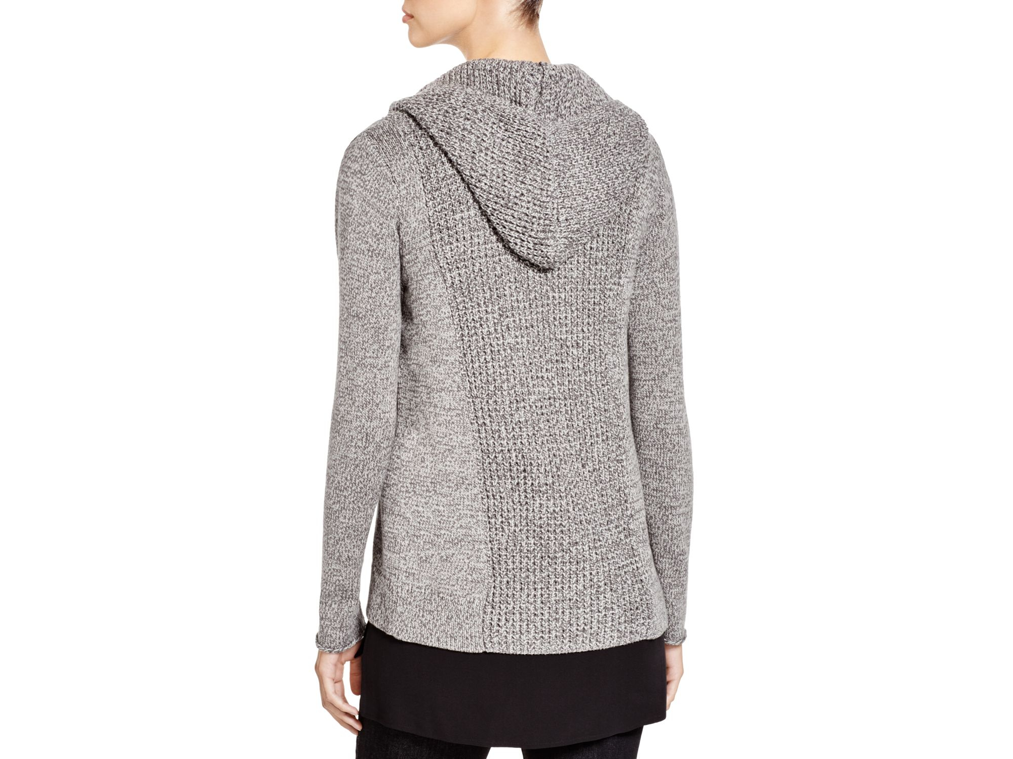 Eileen fisher Organic Cotton Hooded Cardigan in Gray | Lyst