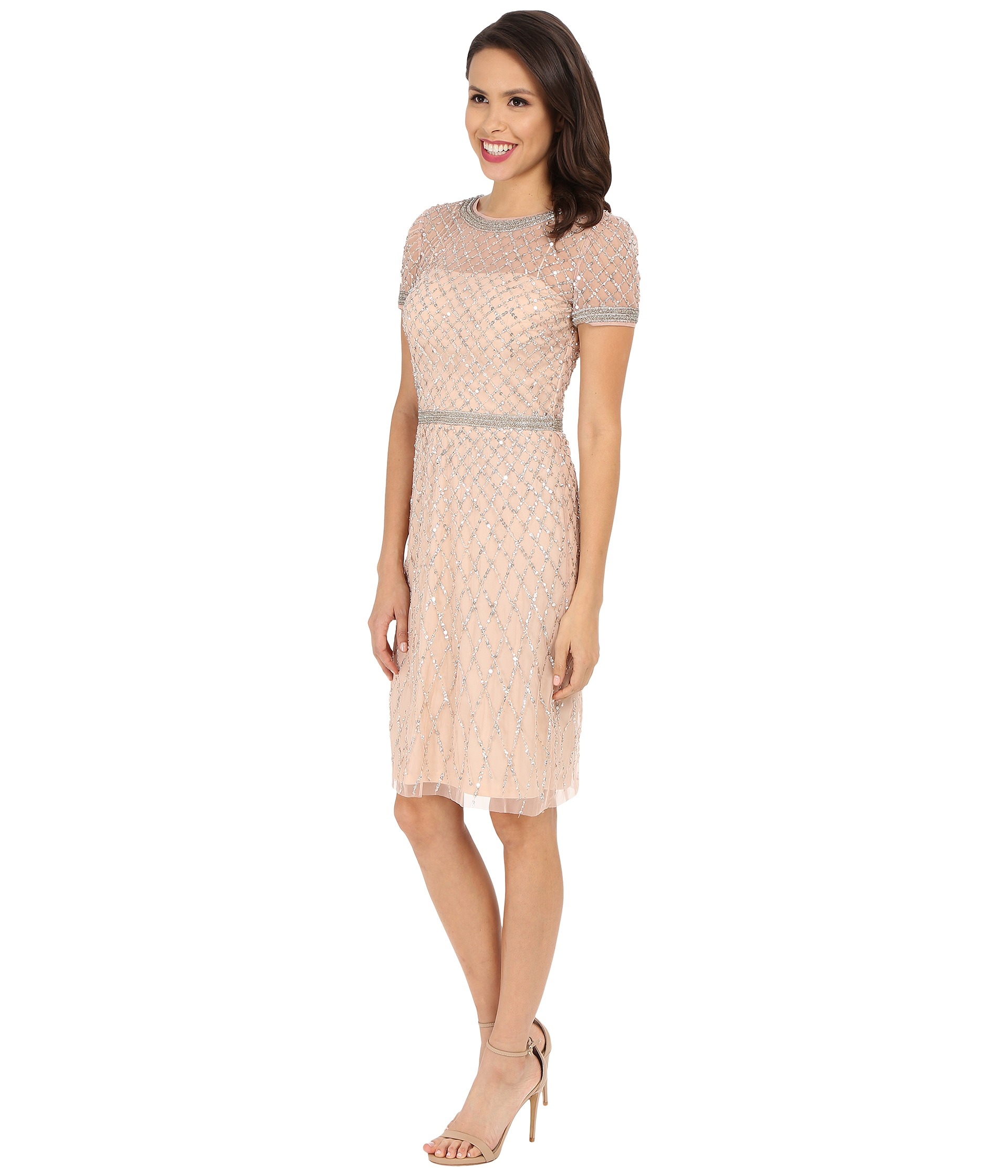 Lyst - Adrianna Papell Short Sleeve Fully Beaded Cocktail Dress in Pink
