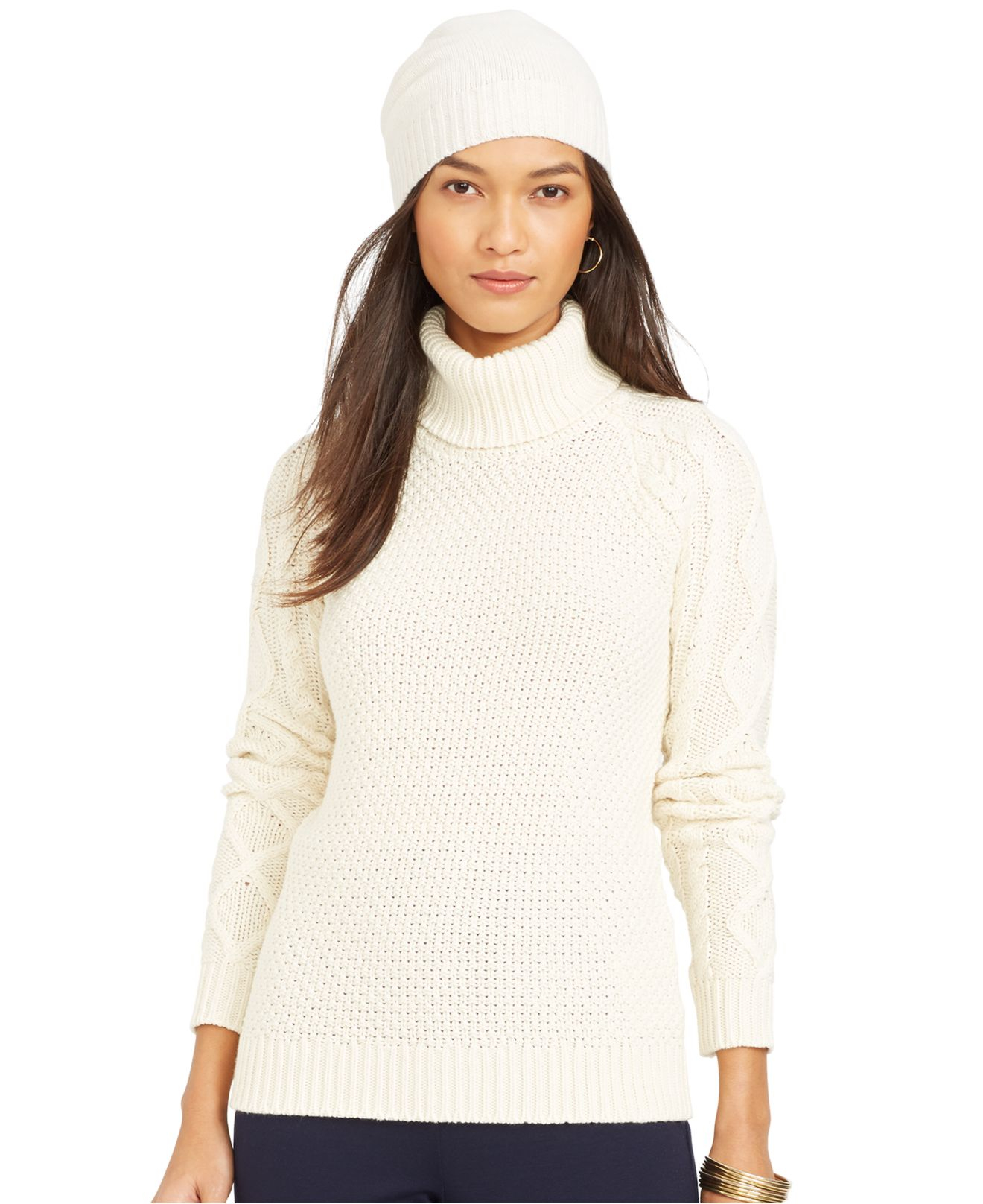 Lauren by ralph lauren Cable-Knit Turtleneck Sweater in Natural | Lyst