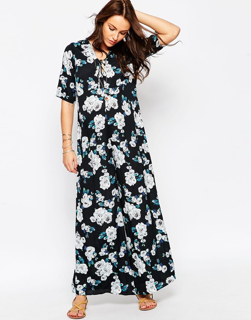 8d8472763dd Lyst - ASOS Maternity Scallop Wide Leg Jumpsuit In Floral Print With ...